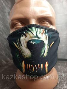 Защитная многоразовая маска с ярким принтом Волк, универсальный размер