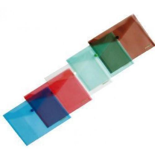 Папка-конверт А4 на кнопке SCHOLZ 03500 прозрачная красная 180мкн (12)