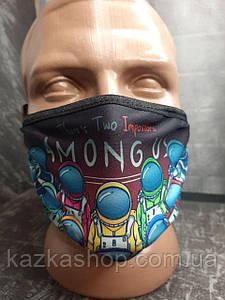 Защитная многоразовая маска с ярким принтом Among Us, универсальный размер