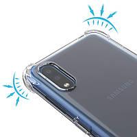 Противоударный прозрачный силиконовый чехол на Samsung A01 с защитными углами