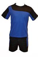 Форма футбольная детская р-р 12  (футболка-синяя,шорты чёрные.