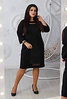 Женское стильное платье свободного кроя со вставками из сетки и эко-кожи