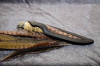 """Колекційний ніж ручної роботи з рогом сайгака """"Хижак"""", мозаїчний дамаск, фото 2"""