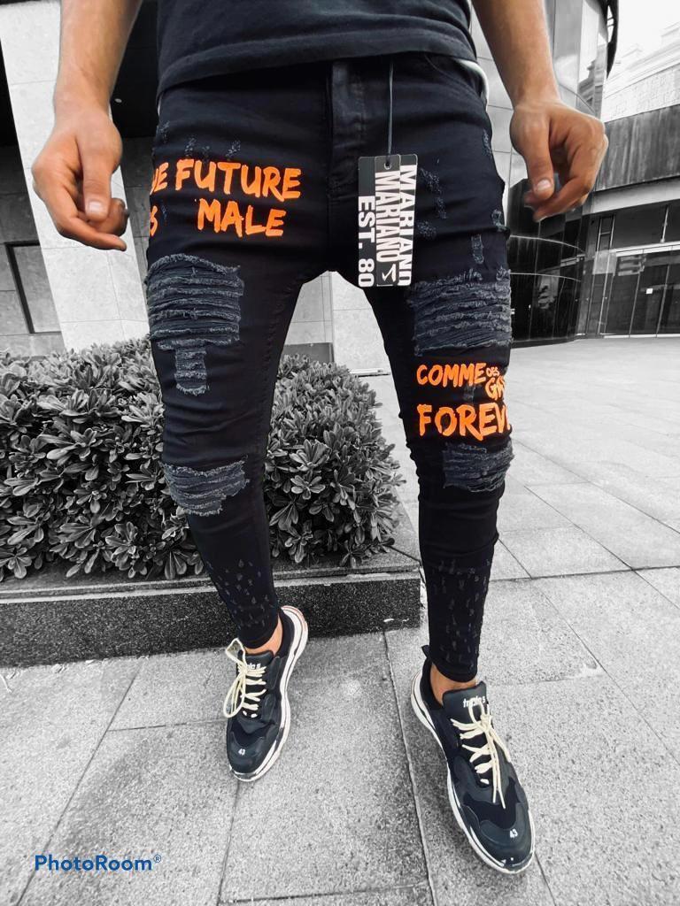 Джинсы - Мужские черные джинсы с надписями/ чоловічі джинси чорні з написами