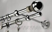 Карниз для штор металевий подвійний 16+16мм МЕЛЬБА Довжина 2.4 м Колір Хром (Сатин нікель)
