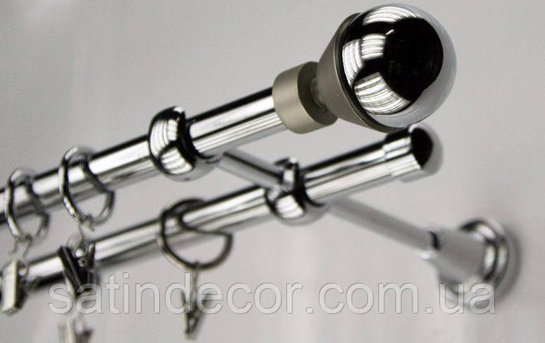 Карниз для штор металевий подвійний 16+16мм МЕЛЬБА Довжина 1.8 м Колір Хром (Сатин нікель)