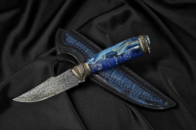 """Авторский коллекционный нож """"Angel"""", мозаичный дамасск"""