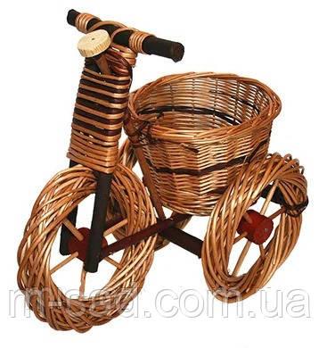 Велосипед кашпо для  для сада (плетеный из лозы). Подставка для цветов