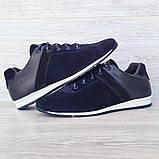 42 РАЗМЕР Мужские кроссовки демисезонные натуральная кожа темно-синего цвета (Кч-1с), фото 2