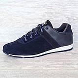 42 РАЗМЕР Мужские кроссовки демисезонные натуральная кожа темно-синего цвета (Кч-1с), фото 3