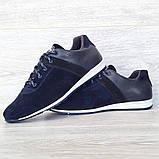 42 РАЗМЕР Мужские кроссовки демисезонные натуральная кожа темно-синего цвета (Кч-1с), фото 5