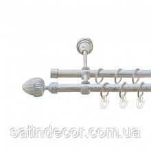 Карниз для штор металевий подвійний 19+19мм ОДЕОН Довжина 3.0 м Колір Біле Золото