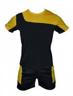 Форма футбольная детская. Размеры: M: 34-38. (6-8лет). Цвет: черный с желтой вставкой.