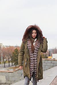 Женская стильная зимняя парка П-17