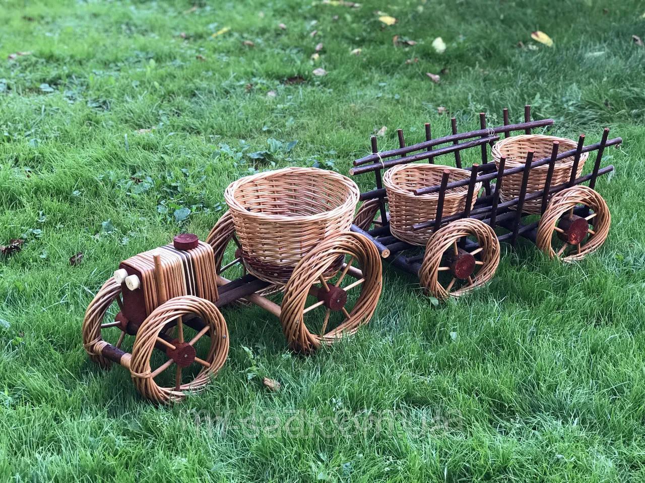 Кашпо ,цветочник ,набор трактор+телега