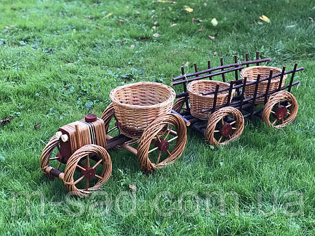 Кашпо ,цветочник ,набор трактор+телега, фото 2