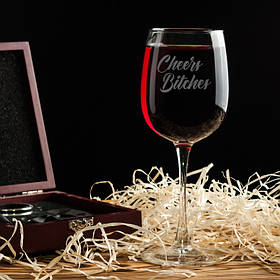 """Бокал для вина """"Cheers bitches"""". Винный бокал с надписью - лазерная гравировка   420 мл"""