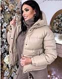 Женская теплая куртка из эко-кожи, размеры:42-44 44-46, 5 цветов., фото 3