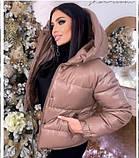 Женская теплая куртка из эко-кожи, размеры:42-44 44-46, 5 цветов., фото 4