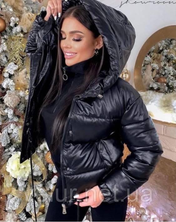Женская теплая куртка из эко-кожи, размеры:42-44 44-46, 5 цветов.
