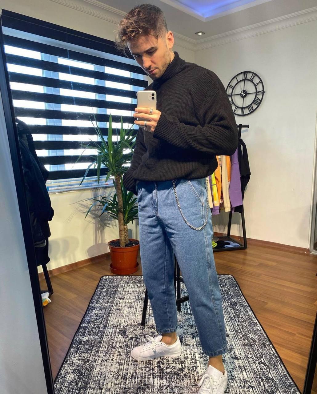 😝 Джинси - Чоловічі сірі джинси широкий фасон бойфренди