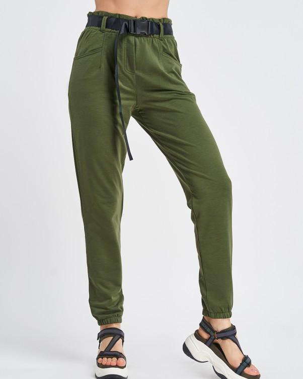 Трикотажні жіночі брюки кольору хакі з високою посадкою
