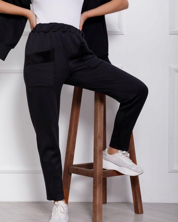 Черные женские брюки из трикотажа на меху с карманами