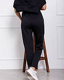 Черные женские брюки из трикотажа на меху с карманами, фото 2