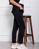 Черные женские брюки из трикотажа на меху с карманами, фото 3