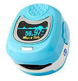 Детский аккумуляторный пульсометр оксиметр на палец (пульсоксиметр) CONTEC CMS50QB LCD Blue, фото 3