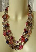 Ожерелье женское колье бусы натуральный камень агат хрусталь 4316