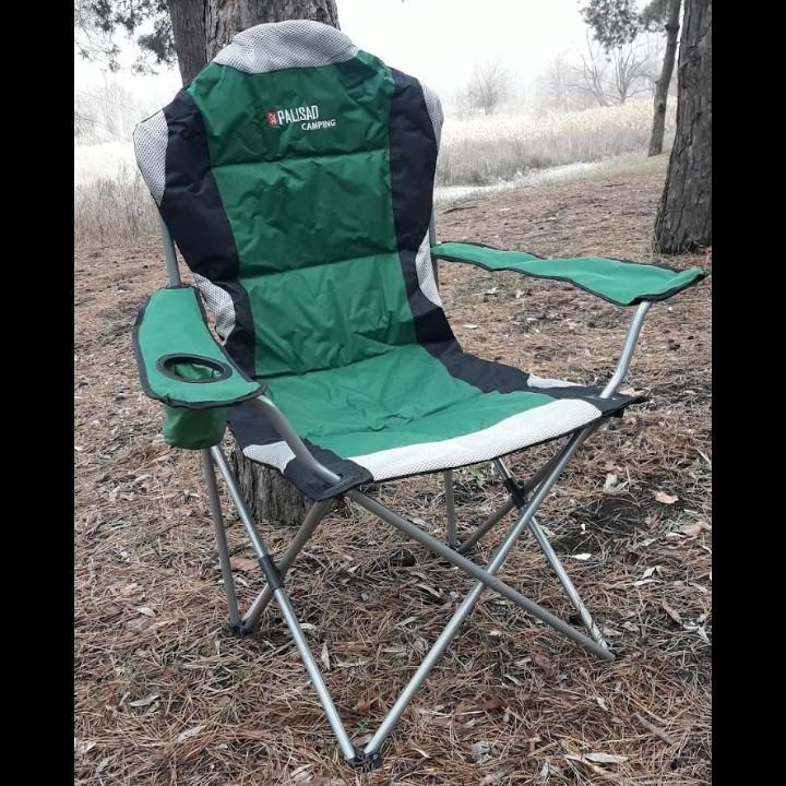 Кресло складное с подлокотниками и подстаканником, 60 х 60 х 110/92 см, Camping Palisad ДО 120 кг.