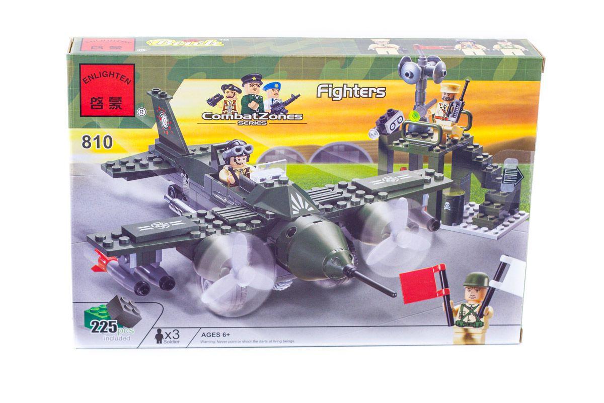 """Конструктор """"Військовий літак,винищувач"""" 225 деталей Brick-810"""