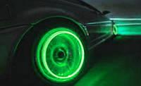 Неоновая подсветка колес, зеленая.
