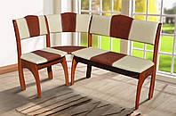Кухонный уголок Омега Орех (Вегас беж+коричневый) (Микс-Мебель ТМ)