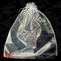 Большой белый полупрозрачный подарочный мешок 45х55 см из органзы
