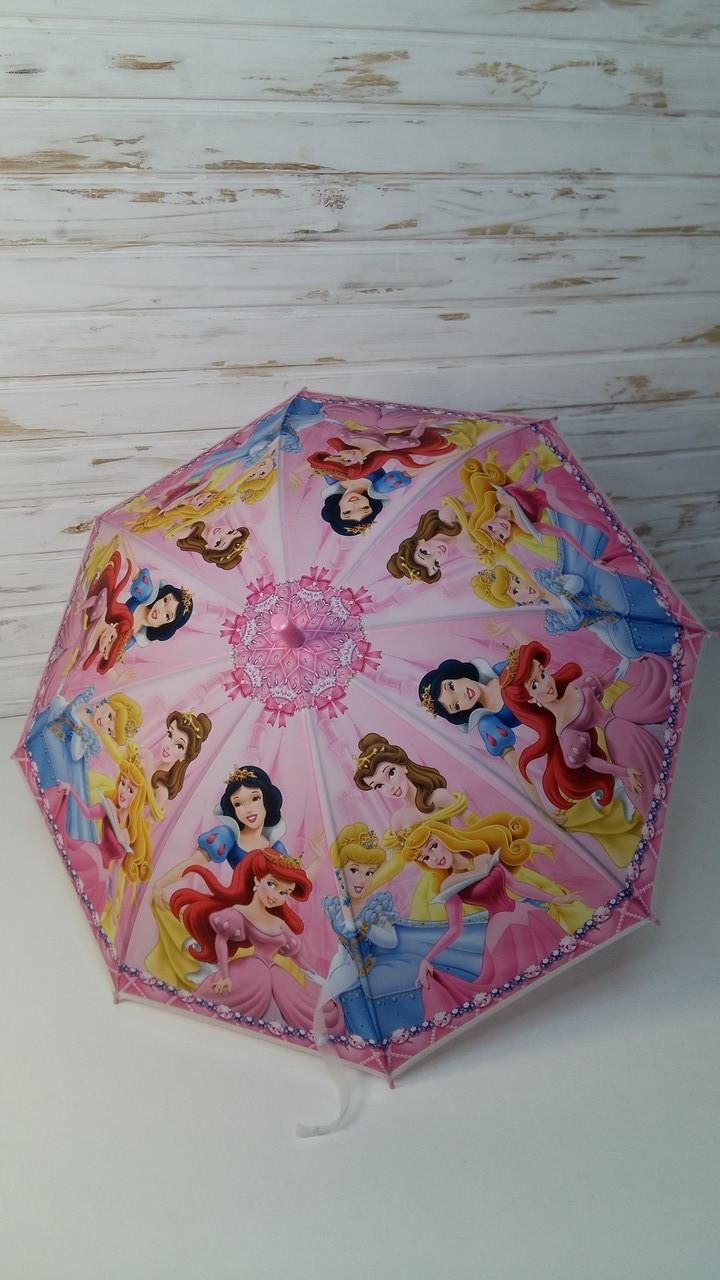 Детский зонт для девочки, Зонтик детский, трость, свисток, клеенка, Зонтик детский Принцесса МК4145