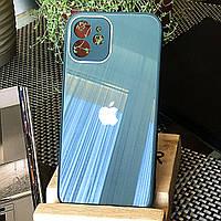 Чохол Color-Glass для Iphone 12 mini бампер з захистом камер Green
