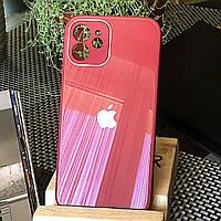 Чохол Color-Glass для Iphone 12 mini бампер з захистом камер Red