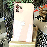 Чохол Color-Glass для Iphone 12 mini бампер з захистом камер Peach