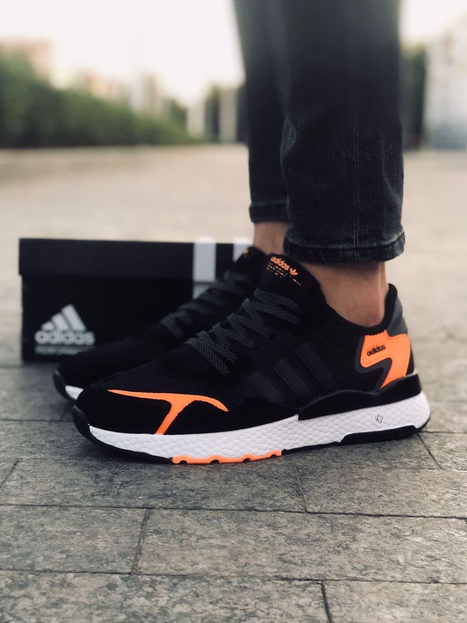 Мужские кроссовки Adid@s Nite Jogge  , черные с серым