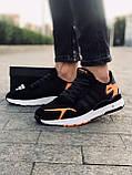 Мужские кроссовки Adid@s Nite Jogge  , черные с серым, фото 3