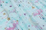 "Тканина бавовняна ""Хмари і місяць з крапельками"" на м'ятному, колекція Exclusive glliter, №1889а, фото 4"