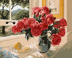 Картина по номерам 40*50 см Розы на подоконнике
