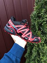 Беговые кроссовки мужские черные с красным, фото 2