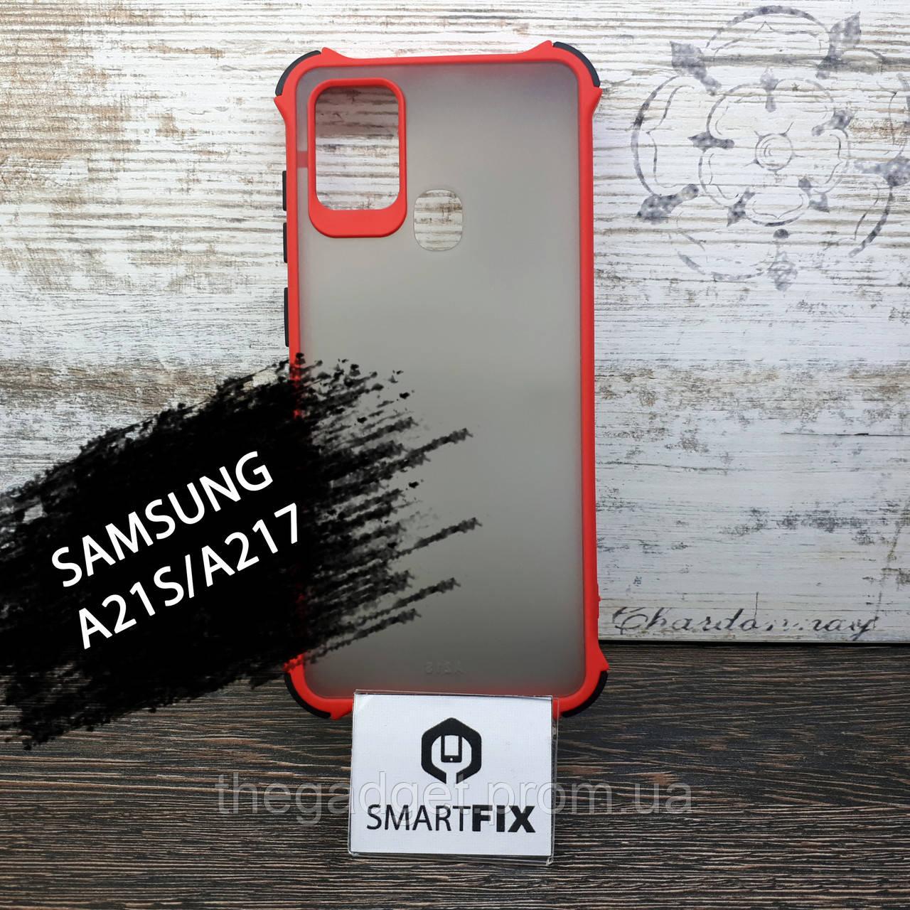 Противоударный чехол для Samsung A21S / A217 Armor Frame Красный