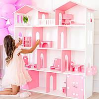 Кукольный домик KiddyRoom 4 этажа Белый с розовым