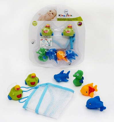 Игрушка для купания, сетка на липучках, 4 брызгалки.