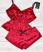 Велюрова жіноча піжама майка і шорти