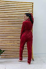 Женский домашний костюм плюшевый красный Шаль. Домашний женский халат + штаны. Жіночий домашній костюм, фото 3